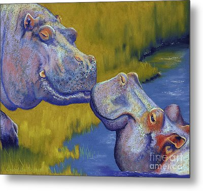 The Kiss - Hippos Metal Print by Tracy L Teeter
