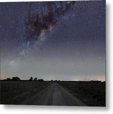 The Milky Way Galaxy Over A Rural Road Metal Print by Luis Argerich