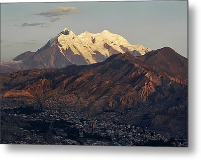 The Nevado Illimani And The South City Of La Paz. Republic Of Bolivia. Metal Print by Eric Bauer