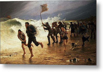 The Rescue Metal Print by Maurice Poirson