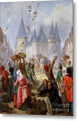 The Return Of Saint Louis Blanche Of Castille To Notre Dame Paris Metal Print by Pierre Charles Marquis