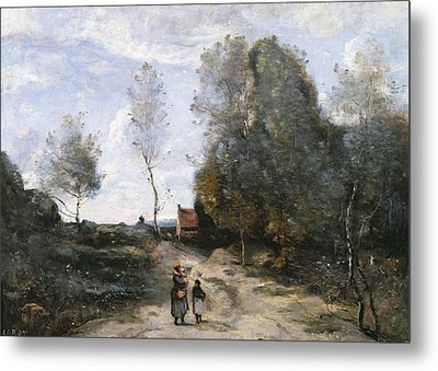 The Road Metal Print by Jean Baptiste Camille Corot