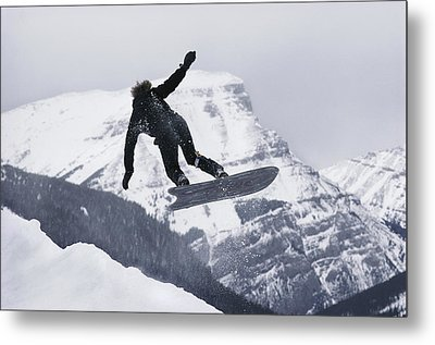 The Snowboard Championships Were Held Metal Print by George F. Mobley