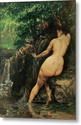 The Source Or Bather At The Source Metal Print by Gustave Courbet
