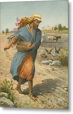 The Sower Sowing The Seed Metal Print by English School