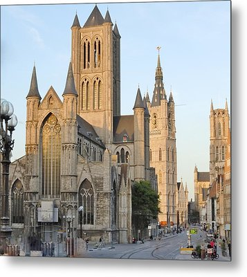 The Three Towers Of Gent Metal Print by Marilyn Dunlap