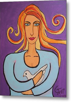 The Woman And The Dove Of Peace Metal Print by Claudia Tuli