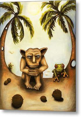 Thinking About Coconuts Metal Print by Leah Saulnier The Painting Maniac