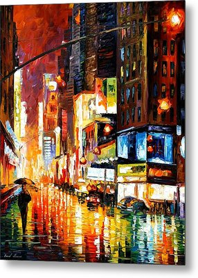 Times Square Metal Print by Leonid Afremov