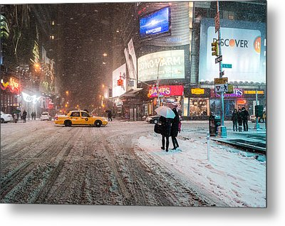 Times Square Snow - Winter In New York City Metal Print by Vivienne Gucwa