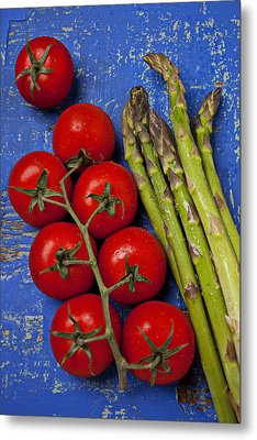 Tomatoes And Asparagus  Metal Print by Garry Gay