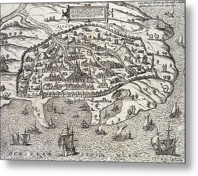 Town Map Of Alexandria In Egypt Metal Print by Unknown