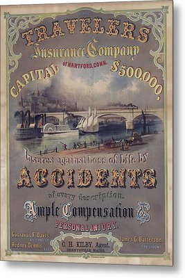 Travelers Insurance Company Advertising Metal Print by Everett