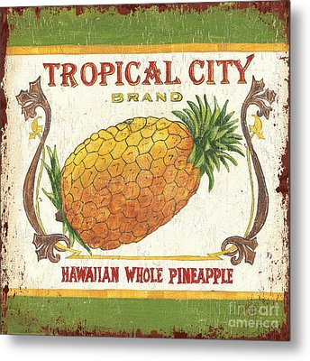 Tropical City Pineapple Metal Print by Debbie DeWitt