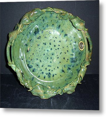 Trout Pattern Glaze Bowl With Leaves Metal Print by Carolyn Coffey Wallace