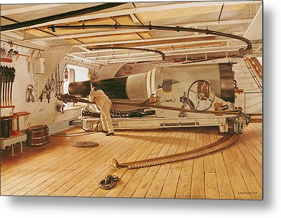 Twenty-seven Pound Cannon On A Battleship Metal Print by Gustave Bourgain