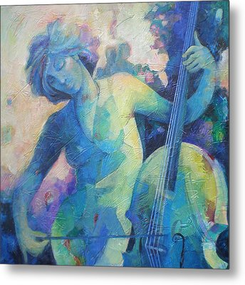 Twilight Rhapsody - Lady Playing The Cello Metal Print by Susanne Clark