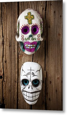 Two Skull Masks Metal Print by Garry Gay