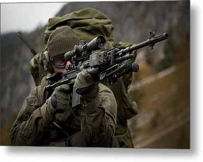 U.s. Special Forces Soldier Armed Metal Print by Tom Weber