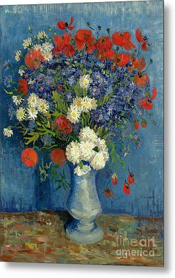 Vase With Cornflowers And Poppies Metal Print by Vincent Van Gogh