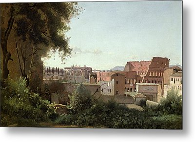 View Of The Colosseum From The Farnese Gardens Metal Print by Jean Baptiste Camille Corot
