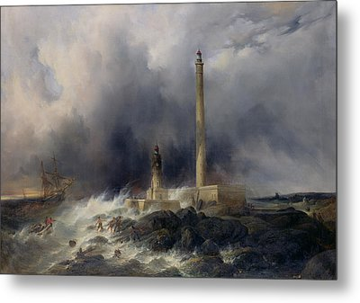 View Of The Lighthouse At Gatteville Metal Print by Jean Louis Petit