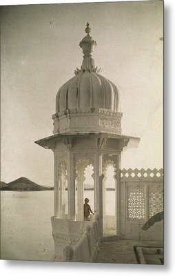 View Of The Palace Of Maharajas Pond Metal Print by Gervais Courtellemont