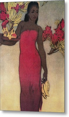 Vintage Hawaiian Woman Metal Print by Hawaiiam Legacy Archives - Printscapes