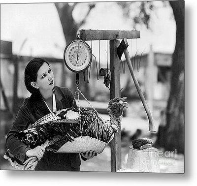 Vintage Holiday Card   Woman Weighing A Turkey Ahead Of The Holidays Metal Print by American School