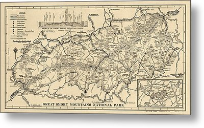 Vintage Map Of Great Smoky Mountains National Park From 1941 Metal Print by Blue Monocle