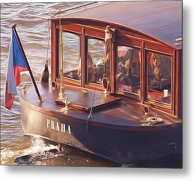 Vltava River Boat Metal Print by Shawn Wallwork