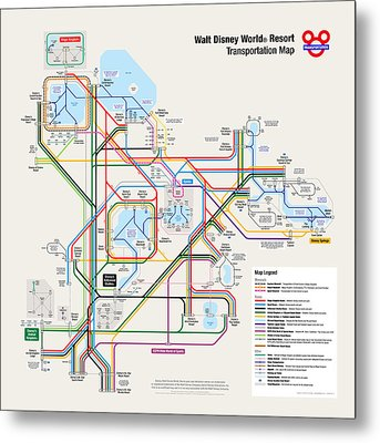 Walt Disney World Resort Transportation Map Metal Print by Arthur De Wolf