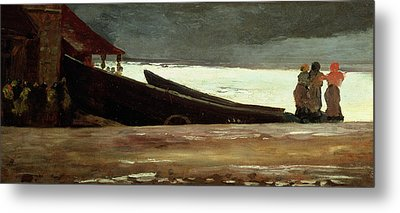 Watching A Storm On The English Coast Metal Print by Winslow Homer