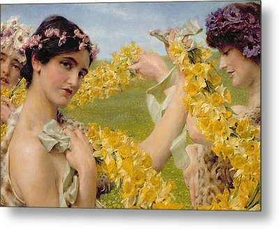 When Flowers Return Metal Print by Sir Lawrence Alma-Tadema