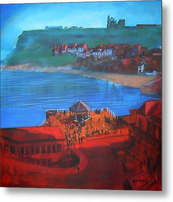 Whitby Bandstand And Smokehouses Metal Print by Neil McBride