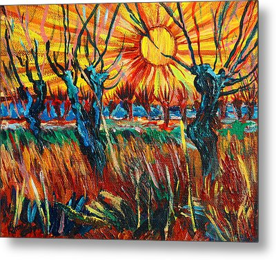Willows At Sunset - Study Of Vincent Van Gogh Metal Print by Karon Melillo DeVega