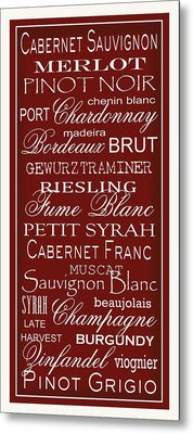 Wine List Red Metal Print by Rebecca Gouin
