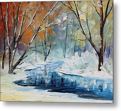 Winter New Metal Print by Leonid Afremov