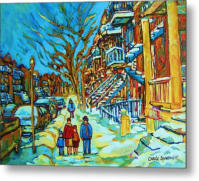 Winter  Walk In The City Metal Print by Carole Spandau