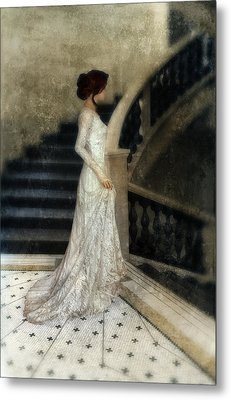 Woman In Lace Gown On Staircase Metal Print by Jill Battaglia