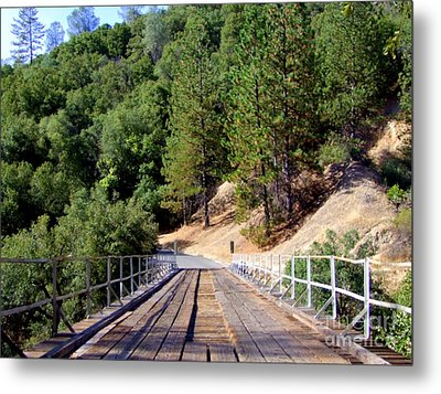 Wooden Bridge Over Deep Gorge Metal Print by Mary Deal