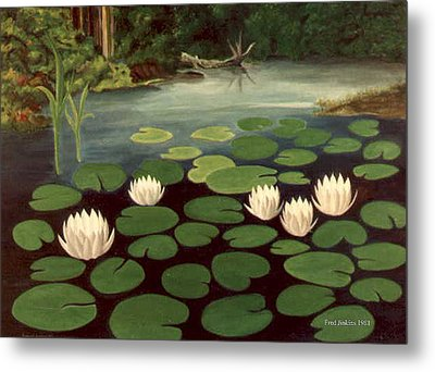 Woodland Hidden Pond Metal Print by Fred Jinkins