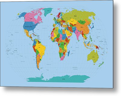 World Map Bright Metal Print by Michael Tompsett