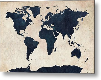 World Map Distressed Navy Metal Print by Michael Tompsett