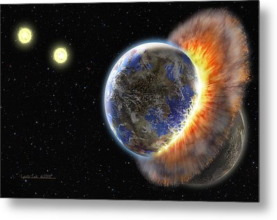 Worlds In Collision Metal Print by Lynette Cook