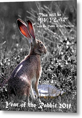 Year Of The Rabbit 2011 . Vertical Bw Metal Print by Wingsdomain Art and Photography