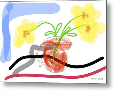 Yellow Flowers In Red Cup Metal Print by Georgia Griffin