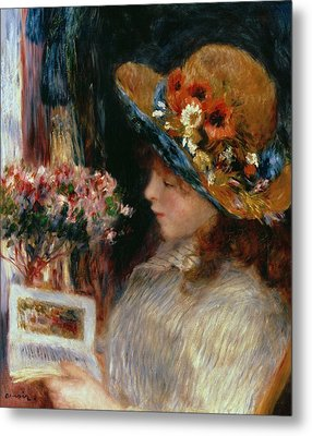 Young Girl Reading Metal Print by Pierre Auguste Renoir