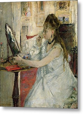 Young Woman Powdering Her Face Metal Print by Berthe Morisot