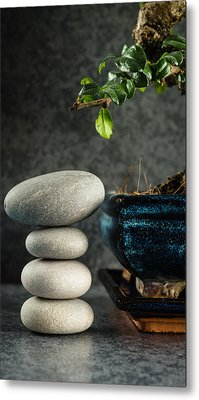 Zen Stones And Bonsai Tree Metal Print by Marco Oliveira